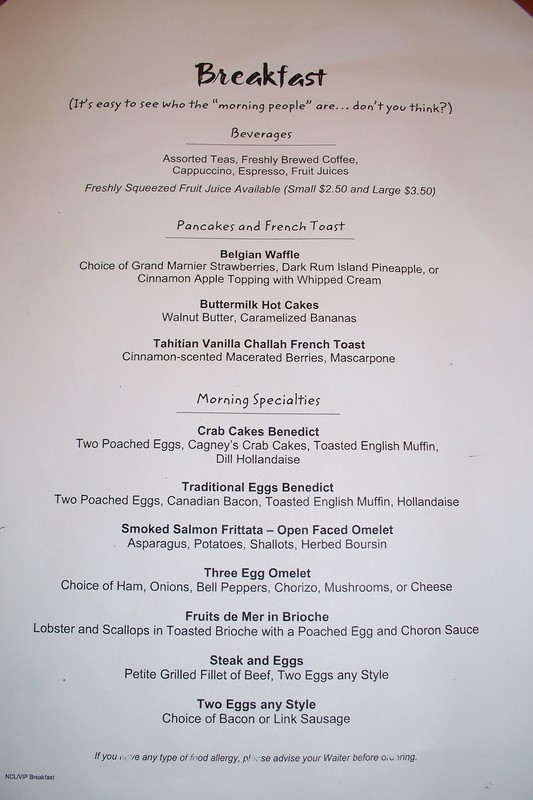 Ncl Star Room Service Menu