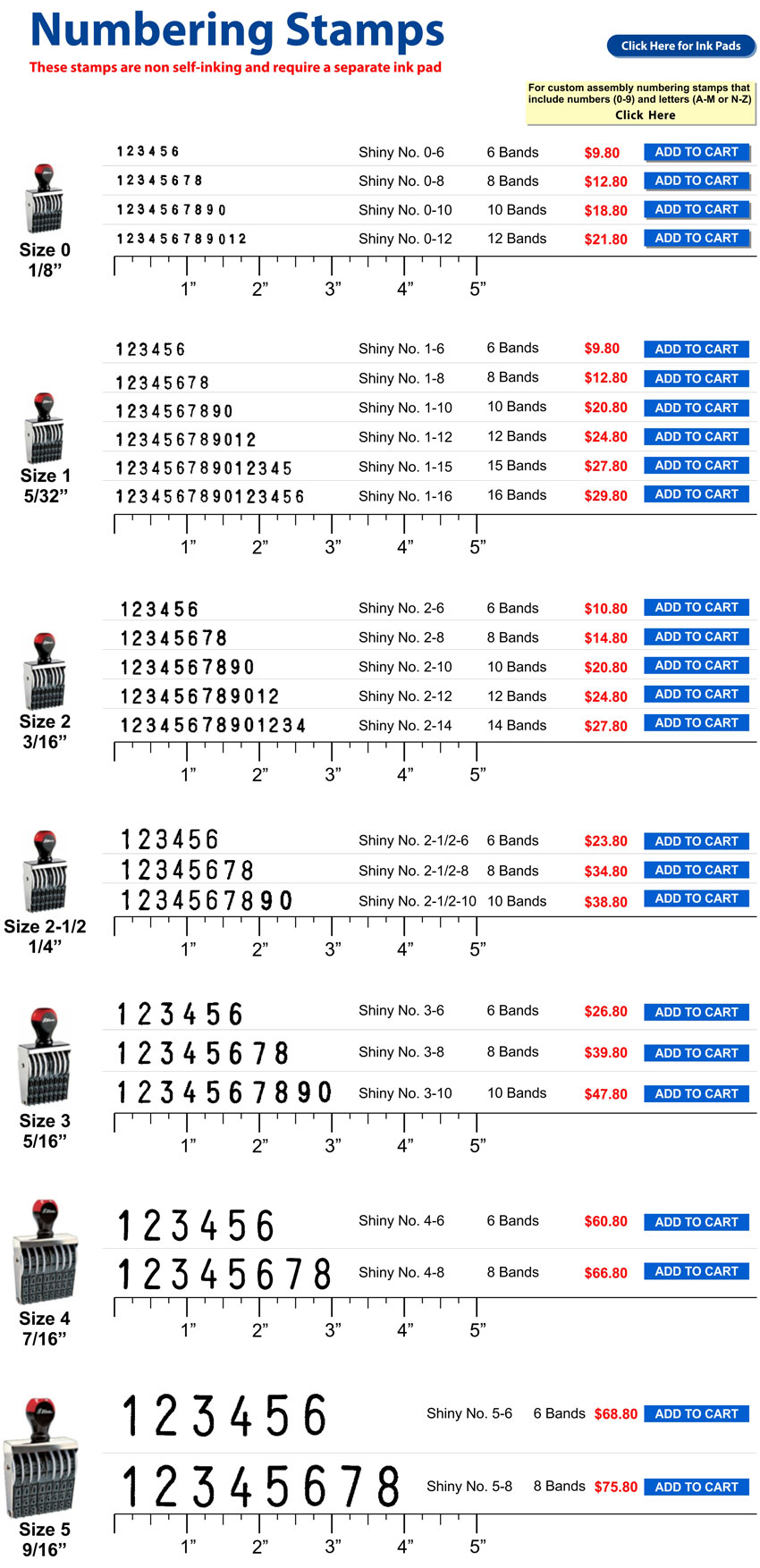 Non self-inking numbering stamp - standard