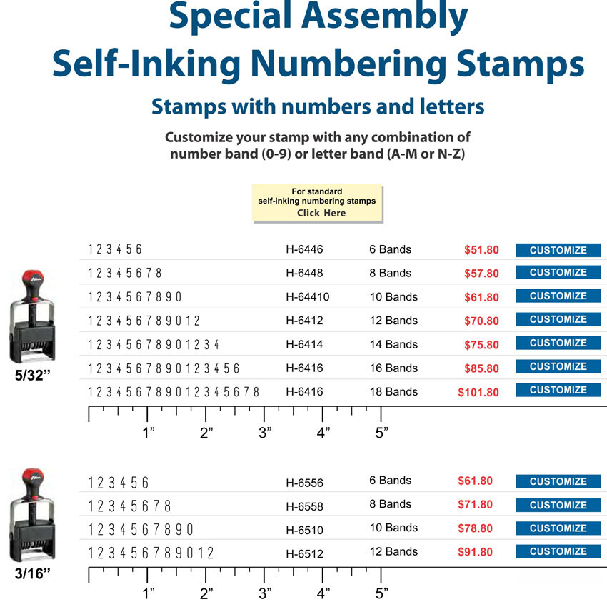Self-Inking Numbering Stamp - Special Assembly