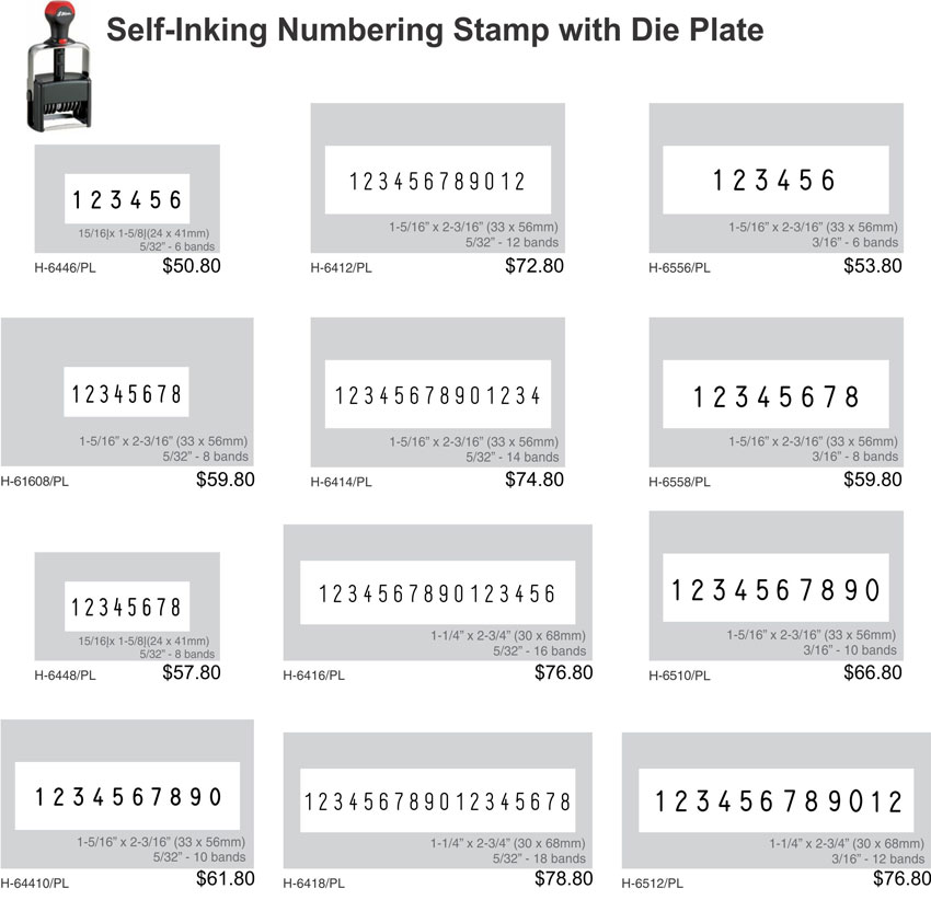 Self-Inking Numbering Stamp with Die Plate