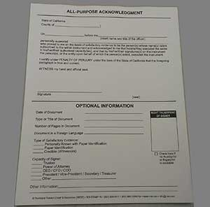 Notary - All-Purpose Acknowledgment Pad