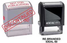 "Ideal 50 Self-Inking Stamp 5/8"" x 1-5/8""."